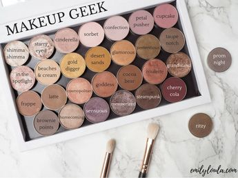 Makeup Geek eyeshadow pans custom palette review on emilyloula beauty blog. Ft shimma shimma, starry eyed, cinderella, sorbet, confection, petal pusher, cupcake, in the spotlight, beaches and cream, gold digger, desert sands, glamorous, pretentious, taupe notch, frappe, latte, cosmopolitan, goddess, cocoa bear, roulette, grandstand, brownie points, homecoming, sensuous, mesmerized, steampunk, cherry cola, prom night and ritzy