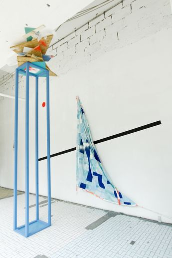 Collaborative Works : The Column one 70 ft. x 15ft. x 15 ft. : Mixed Media Collaboration with Clemens Behr and Raby Fofana Schau Fenster Gallery : Berlin DE