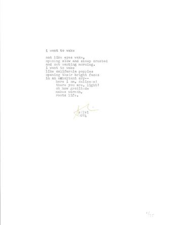I want to wake -hand typed limited edition orignial poem