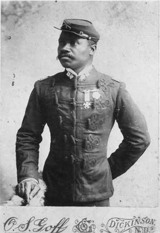 """Studio portrait of African American officer of Company A, 25th United States Infantry Regiment """"Buffalo Soldiers"""", Fort Custer, Montana, ca. 1889 -  Photographer: Goff, O.S. 