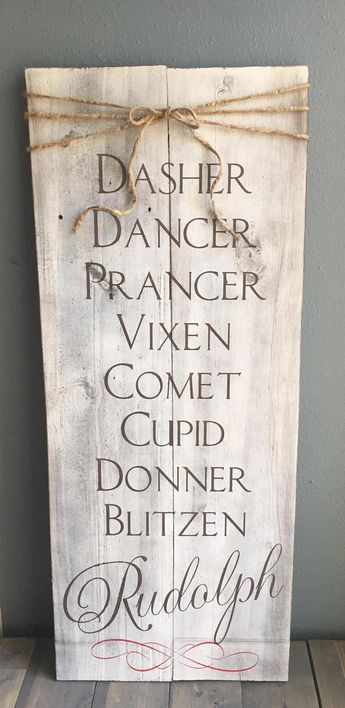 """Dasher Dancer Prancer Vixen Comet Cupid Donner Blitzen Rudolph rustic Christmas wood sign with twine bow. Measures roughly 27""""X11"""" Hand painted, no vinyl stickers, and finished with a clear coat so it's made to last! Check out our other Christmas decor items at bluesunboutique.com, on our Facebook @bluesunboutique or our instagram @bluesunboutique. #LawnDecorations&outsidefun"""