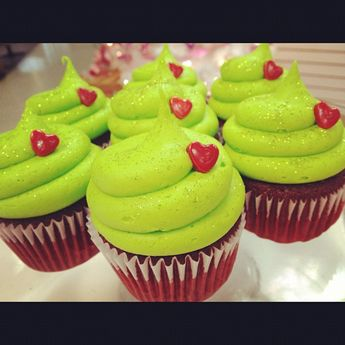 Red Velvet grinch cupcakes
