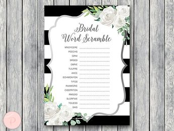 silver white floral bridal word scramble bridal shower game unscramble bridal shower game