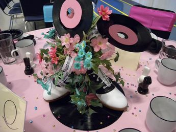 christian themed tablescapes | Loved the centerpiece! Saddle shoes -- what a cool idea.