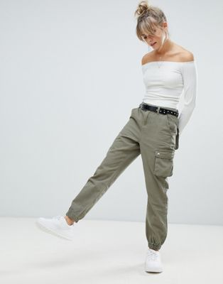 Boohoo cargo trousers in khaki