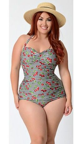 Preorder -  Bettie Page Plus Size Black & White Gingham Cherry Print Swimsuit
