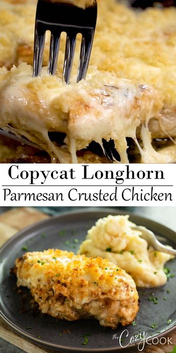 This Copycat Longhorn Parmsan Crusted Chicken recipe has an easy marinade and a delicious Parmesan Crust that's baked on top. It tastes JUST like the restaurant version! #Longhorn #ParmesanCrustedChicken #Chicken #Copycat #Dinner #chickenrecipes