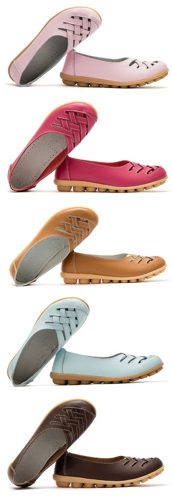 US$14.78 Big Size Soft Breathable Slip On Hollow Out Flat Shoes