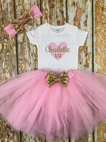 af379b837 Half Birthday, Half Birthday Tutu Outfit, 6 Month Photo Outfit Girl, Half  Birthday