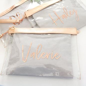 Clear Rose Gold Makeup Cosmetic Bag, Clear Toiletry Bag Clear Stadium Bags Personalized Clear Clutch, Custom Monogram Bag - B-CB02RG