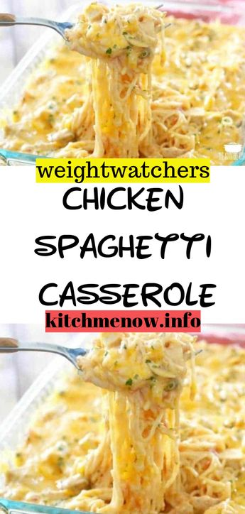 Ingredients: 2 cups chopped cooked chicken breast 2 cups uncooked spaghetti noodles, broken into 2-inch pieces (about 7 ounces) 1 cup (1/4-inch-thick) slices celery 1 cup chopped red bell pepper 1 cup chopped onion 1 cup fat-free, less-sodium chicken broth 1/2 teaspoon salt 1/4 teaspoon freshly ground black pepper 2 (10.75-ounce) cans condensed 30% reduced-sodium 98% fat-free cream of mushroom soup Cooking spray 1 cup (4 ounces) shredded cheddar cheese, divided #weightwatchers #recipe