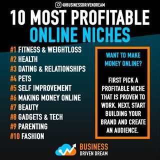"""Business Driven Dream on Instagram: """"Want to start an internet brand? Look no further. Here are the top, most profitable niches over the past year online.⠀ ⠀ Personally I'm…"""""""