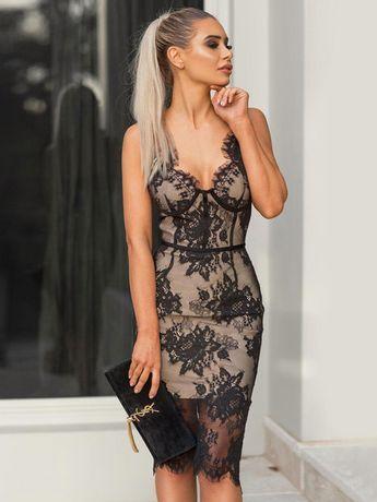 Sexy Party Dress Lace Bodycon Dress Sleeveless Midi Dress