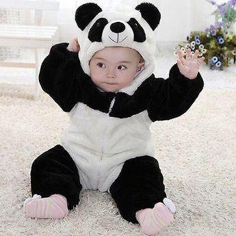 Cute Animal Panda One Piece Long Sleeve Cotton Baby Hooded Romper