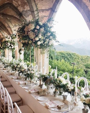 B&C wedding! Organic flowers mixed with golden props and thousand candles Event planning/design: Laura Frappa @exclusiveitalyweddings Venue @villacimbrone Flowers @flower_addicted_angelica