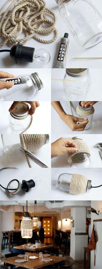 Lámpara DIY con tarro y cuerda