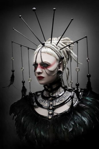 Just love this, not practical but very unusual and her dreads look great
