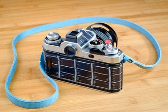 NIKON Fm3a Customized / Blue Leather Strap and Genuine Crocodile of Nikon Camera Body
