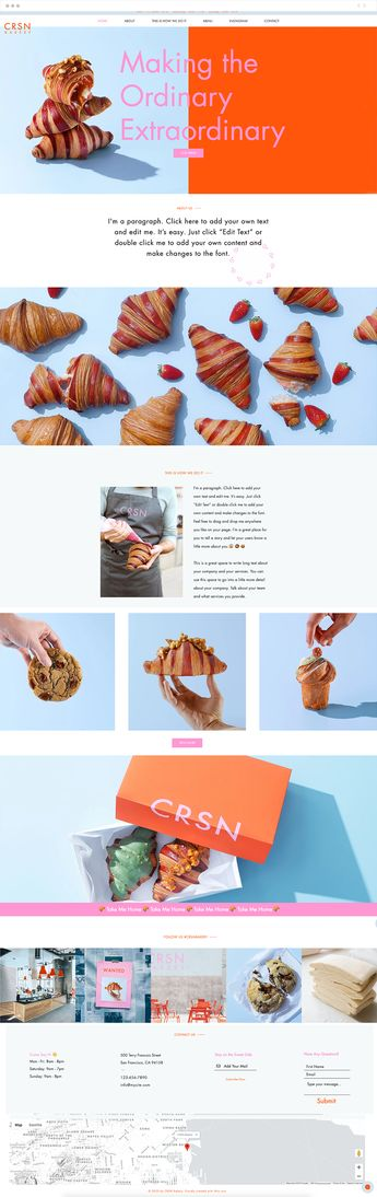 Inhale the smell of a fresh croissant; taste the sweetness of a crunchy cookie. This colorful, clever template has everything that you need to get your food business off the ground and onto the next level. Our menu app will help you upload details and images of your baked goods, while the Instagram feed will engage users everywhere. What are you waiting for? Preheat the oven and turn into an online sensation today!