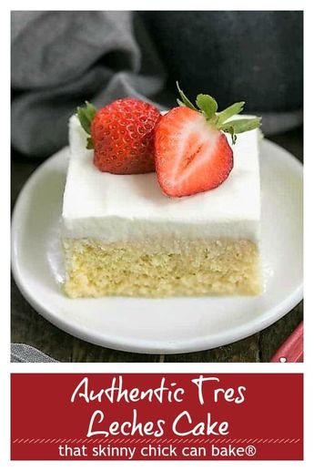 Authentic Tres Leches Cake - A Latin American favorite make with 3 milks, a homemade sponge cake and whipped cream frosting! #tresleches #AltonBrownrecipe #3MilksCake #LatinAmericandessert #cake #cincodemayo #thatskinnychickcanbake