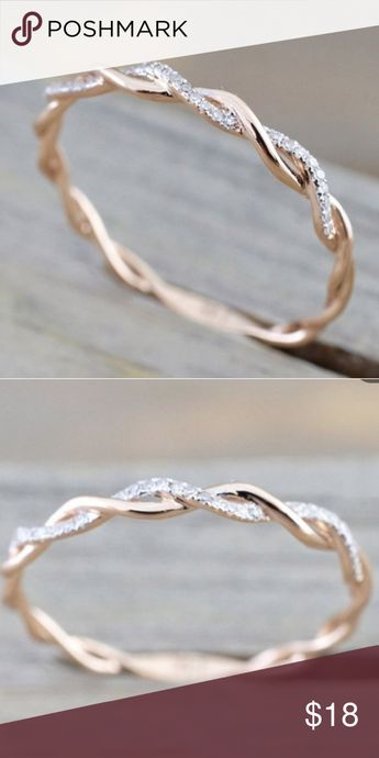 Rose infinity band ring Rose gold clad with 0.06 ctw round cut diamonds cute twined vine infinity ring.  Condition new Jewelry Rings