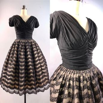3289490e36a Natlynn 50s Dress Vintage 1950s Black Lace Ruched Nipped waist Full Skirt  Party Cocktail 34 bust