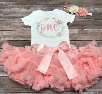 da4aa0610 Baby girls first birthday outfit floral flower peach | one year old girl  birthday outfit