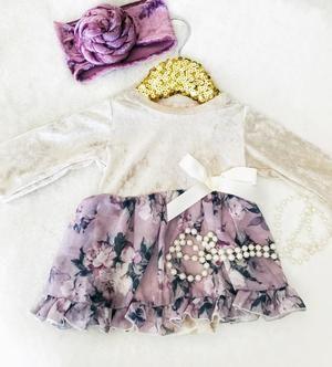 Kryssi Kouture Romantic Floral Chiffon & Velvet Tutu Dress