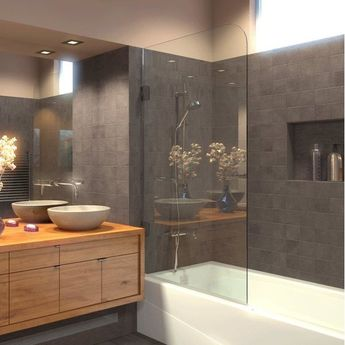"""33.5"""" x 70"""" Hinged Frameless Tub Door with ClearShield® Technology"""