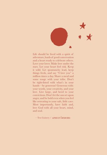 The Apricot Memoirs / book of prose & poetry by @tessguinery / www.tessguinery.co