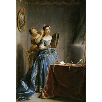 A Lady at Her Toilet Canvas Art - Jean Raoux (20 x 28)