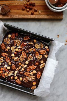 Extra Nutty Dark Chocolate Brownies
