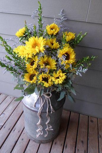 Large sunflower milk can by Memories in Bloom, Chehalis