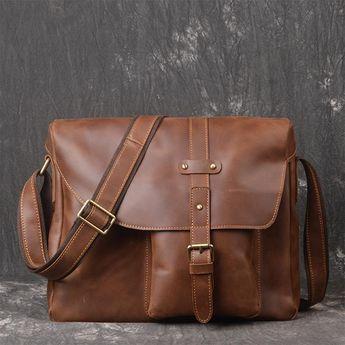d903ebaaf68e Handmade Leather Mens Cool Small Messenger Bag iPad Bag Chest Bag Bike Bag  Cycling Bag for