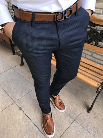 İtalyan stil slim fit likralı keten kanvas erkek pantolon T1683