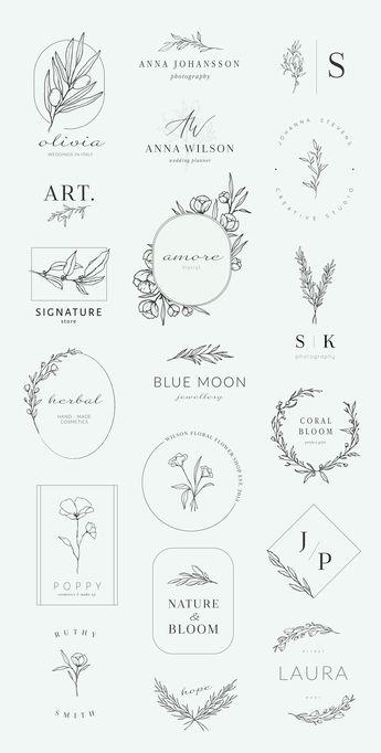Botanical logos & illustrations by Crocus Paperi on @creativemarket