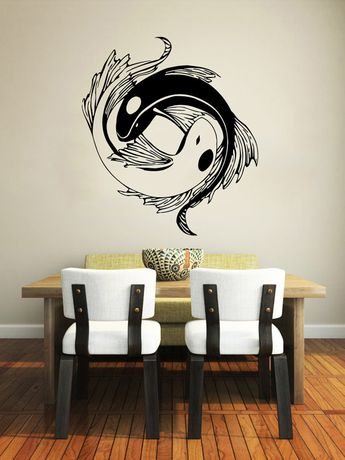 Wall Decal Yin Yang Koi Fish Geometric Chinese por SuperVinylDecal