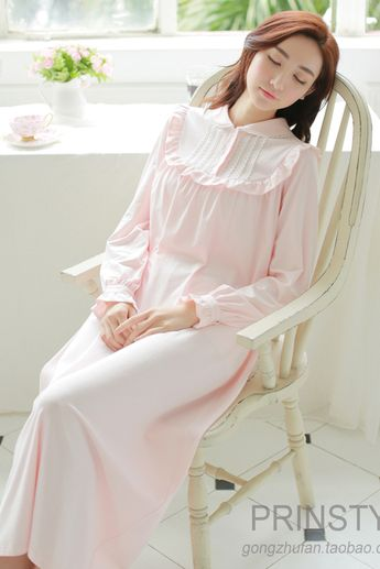 c331090651 2017spring and autumn long sleeve royal princess nightgown full dress  fashion white knitted 100% cotton