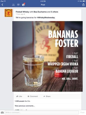 Bananas Foster. Fireball, whipped cream vodka, banana liqueur