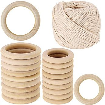 2 Size 20 PCS Unfinished Solid Wooden Rings Wooden Teething Ring Natural Wood Teething Rings and 54 Yard Macrame Cotton Cord Twisted Cotton Rope16 Wide ** Click on the image for additional details. (This is an affiliate link)