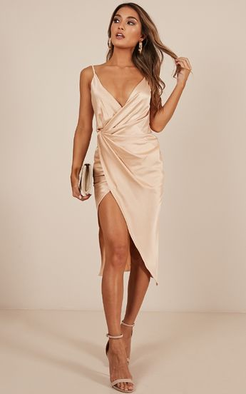 Yas Queen Dress In Beige Satin Produced