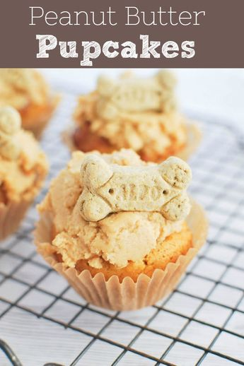 Peanut Butter Pupcakes - dog-friendly peanut butter cupcakes with cream cheese frosting.