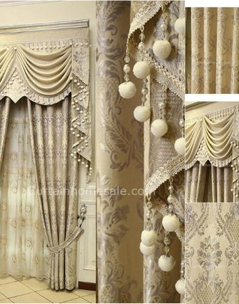 Beige Faux Suede Luxury Victorian Vintage Curtain Without Valance
