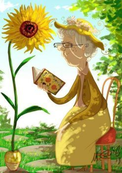 Illustration of a little old lady reading a book (117 pieces)