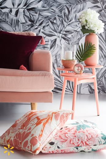 Can't wait to relax on that pink velvet sofa? It's as comfy as it looks. Get it along with pretty florals accessories and 70s-style decor from Drew's eclectic home collection.