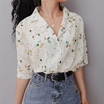 Vintage Floral Lapel Shirt Loose BF Wind Chiffon Short Sleeve Shirt from FE CLOTHING