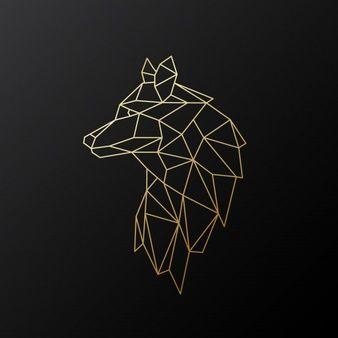 Geometric gold wolf.