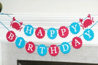 Hy Birthday Banner Crab Nautical Party Ocean Under