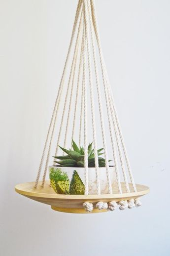 Macramé Hanging Wood Basket / Macrame Plant Hanger