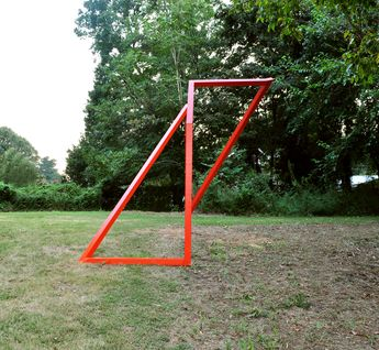 Installation : Exterior Sculpture in Orange 15 ft. x 10ft. x 15 ft. : Wood and latex Paint Art on the Beltline : Atlanta GA